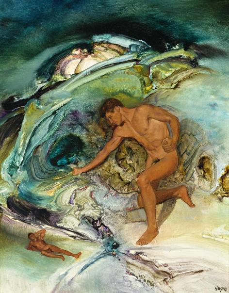 Male Nude in Psychoscape (Variation on the Titan Theme VII), by James Gleeson